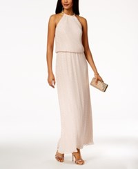 Msk Metallic Dot Print Halter Gown Blush Gold