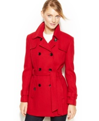 Calvin Klein Double Breasted Belted Pea Coat Crimson