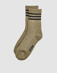 Stussy Striped Crew Sock In Taupe