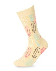 Happy Socks Feather Print Mid Calf Tan