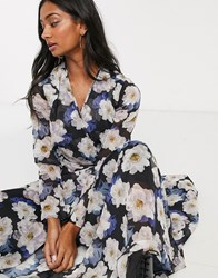 Lost Ink Maxi Wrap Dress With Cut Out Detail In Oversized Floral Print Multi