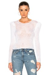 Ryan Roche Open Knit Sweater With Long Puff Sleeves In White