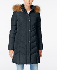 Tommy Hilfiger Faux Fur Trim Hooded Quilted Puffer Coat Navy