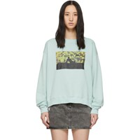 Off White Blue Flowers Silhouette Sweatshirt