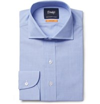 Drakes Blue Easyday Cutaway Collar End On End Cotton Shirt