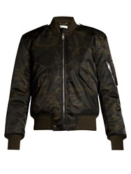 Saint Laurent Camouflage Print Bomber Jacket Black