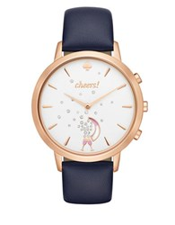 Kate Spade Idiom Sam Stainless Steel And Leather Strap Smart Watch Navy Blue