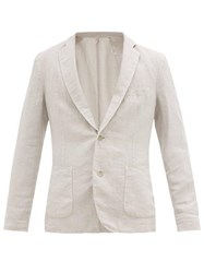 120 Lino Single Breasted Linen Suit Jacket Light Grey