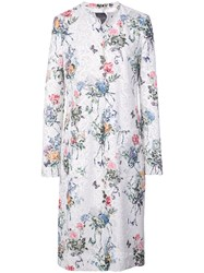 Monique Lhuillier Floral Print Single Breasted Coat White