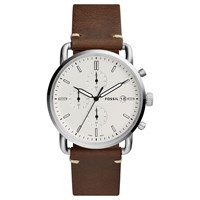 Fossil Men's Commuter Date Leather Strap Watch Brown White
