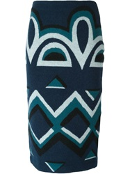 Burberry Prorsum Aztec Pattern Pencil Skirt Blue