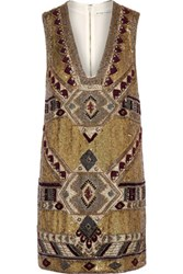 Alice Olivia Odell Embellished Chiffon Mini Dress Gold