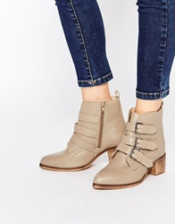 Asos Roundabout Wide Fit Leather Ankle Boots Taupe