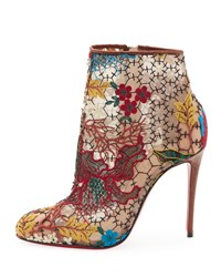 Christian Louboutin Miss Tennis Embroidered Lace Red Sole Bootie Brown