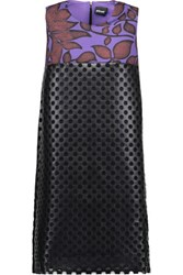 Just Cavalli Printed Stretch Jersey And Perforated Faux Leather Mini Dress Black