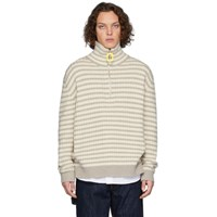 J.W.Anderson Jw Anderson Grey And Off White Striped Neckband Sweater