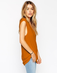 Asos Slouchy Tank Top In Rib With V Neck Brown