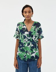Just Female Joana Wrap Blouse Abstract Leaf
