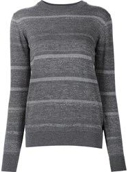 Mih Jeans Striped Crew Neck Jumper Grey