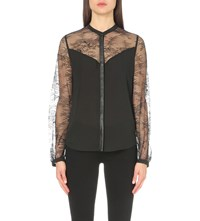 The Kooples Leather Trim Lace And Woven Shirt Black