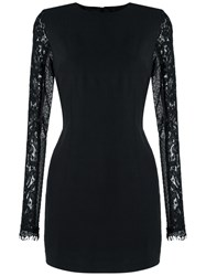 Andrea Bogosian Lace Sleeves Fitted Dress Black