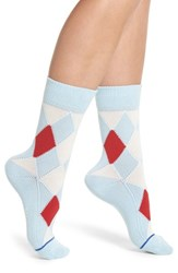 Paul Smith Finella Argyle Crew Socks Soft Blue