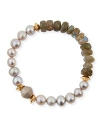 Akola Vail Pearly Gray Beaded Bracelet Gray Pink