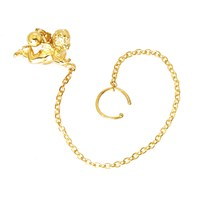 Metal Couture Cherub Nose Ring Chain Gold