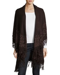 Raj Animal Print Fringe Trim Shawl Brown