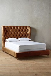 Anthropologie Premium Leather Tufted Wingback Bed Caramel