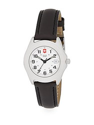 Victorinox Companion Stainless Steel Leather Band Watch Classic White