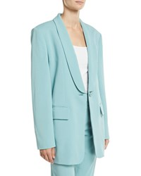Tibi Boxy Oversized Stretch Suiting Tuxedo Blazer Blue