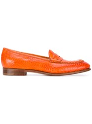 Silvano Lattanzi Classic Loafers Women Leather Aligator Leather 38.5 Yellow Orange
