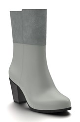 Shoes Of Prey Women's Block Heel Boot Gray Leather Suede