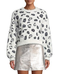 Cupcakes And Cashmere Huxley Leopard Jacquard Cropped Sweater Ivory