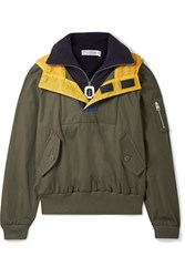 J.W.Anderson Jw Anderson Hooded Shell Trimmed Layered Cotton Drill And Fleece Jacket Green