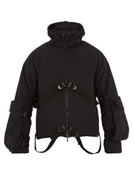 Cottweiler Strap Detail Nylon Hooded Jacket Black