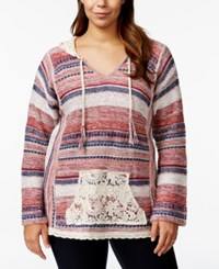 American Rag Plus Size Printed V Neck Hooded Sweater Only At Macy's