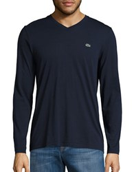 Lacoste V Neck Long Sleeve Tee Navy