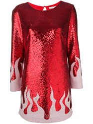 Each X Other Fire Sequinned Mini Dress Red