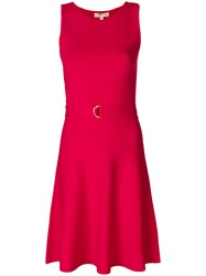 Michael Michael Kors Belted Fit And Flare Mini Dress Red