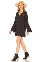 Blue Life Lace Up Tunic Dress Black