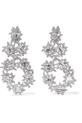 Kenneth Jay Lane Silver Plated Crystal Clip Earrings One Size