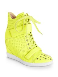 Ash Nevon Perforated Leather High Top Wedge Sneakers