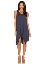 Wilt Slub Hanky Hem Slit Tank Dress Blue