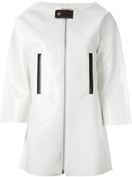 Junya Watanabe Comme Des Garcons Structured Faux Leather Coat White
