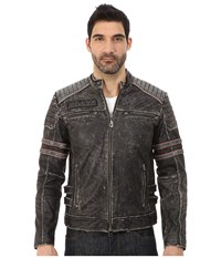 Affliction Fast Lane Leather Moto Jacket Black Vintage Wash Men's Coat