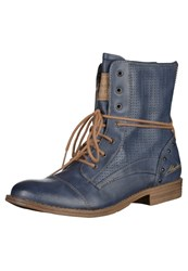 Mustang Laceup Boots Dark Blue