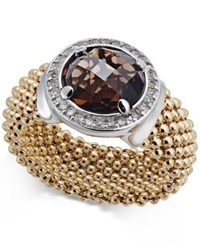 Macy's Smoky Quartz 2 1 8 Ct. T.W. And Diamond 1 5 Ct. T.W. Popcorn Band Ring In 14K Gold Plated Sterling Silver Two Tone