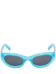 Le Specs Body Bumpin Round Neon Sunglasses Blue Black